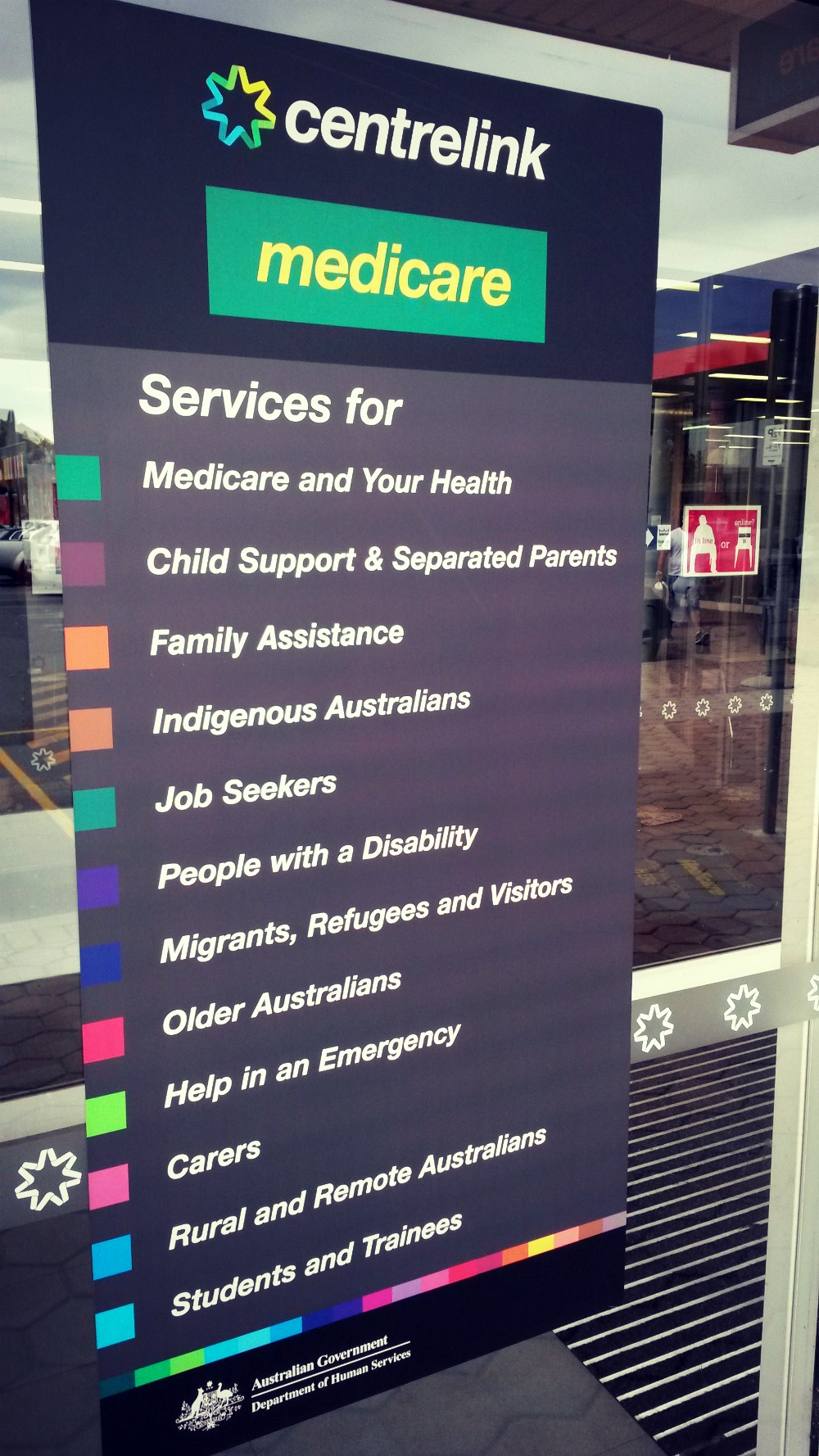 Income and job plan requirements using your centrelink online account - Department Sign With List Of Customer Services