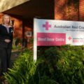 Red Cross Community Relations Officer Sally Gavin standing outside the Blood Donor Centre