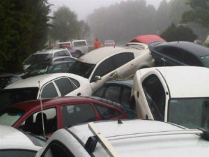 Staff's cars in the aftermath of the 2011 floods