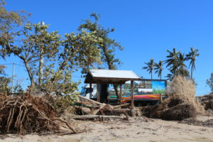 Mobile Service Centre parked behind uprooted trees at Midge Point beach.