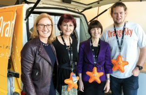Pictured, from left: Queensland Manager, Jody Taylor-Robinson, Orange Sky Australia CEO Jo Westh, Department of Human Services Secretary Renée Leon and Orange Sky co-founder Lucas Patchett